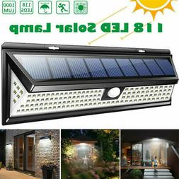 118 LED Solar Power Light PIR Motion Sensor Wall Lamp Outdoo