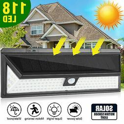 118 led solar power waterproof pir motion