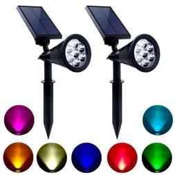 2x Outdoor Solar 7 Colors Changing LED Spot Light Garden Lan
