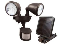 MAXSA Solar-Powered LED Dual-Head Motion Activated Security