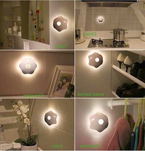 Lithium Battery Powered Motion Sensor Night Stick-on Wall Safe for Stairs, Bathroom,