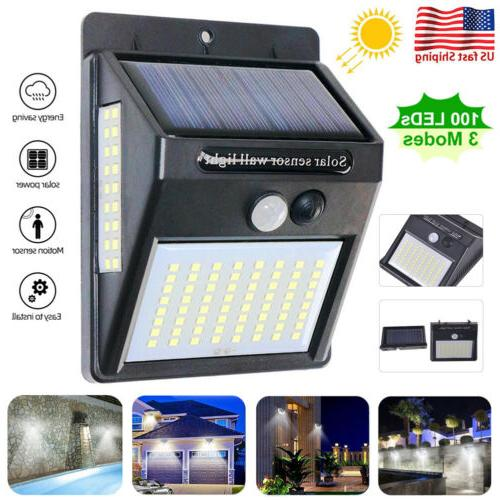 outdoor 100 led solar lights pir motion