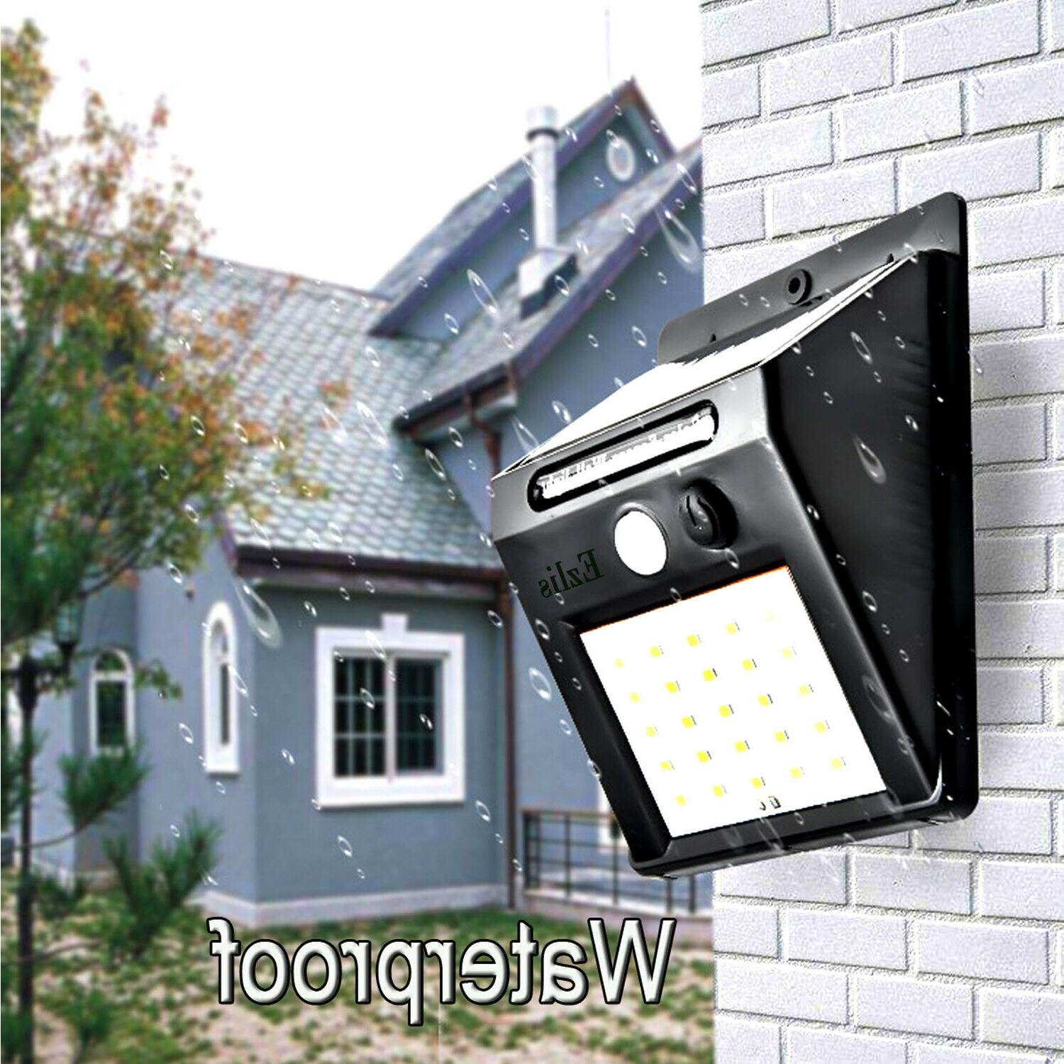Outdoor LED Solar Wall Lights Power Motion Garden Path Lamp