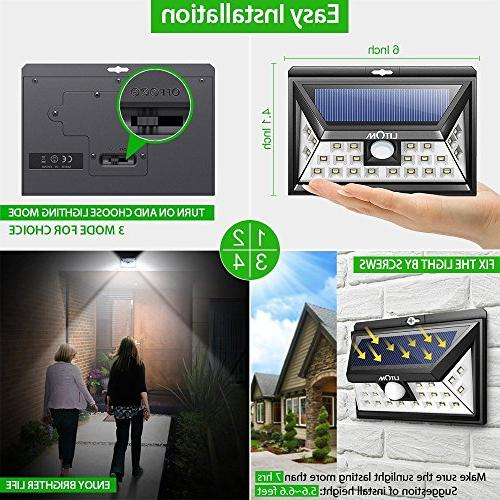 LITOM 24 Solar Lights Outdoor, 3 Optional Modes Light Wide Angle, IP65 Easy-to-install Security Lights Front Door, Porch-4