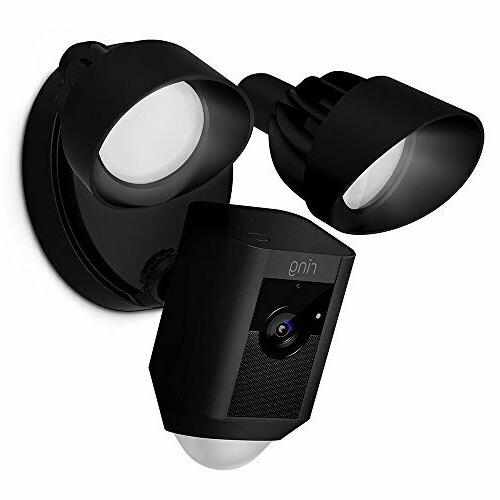 wireless motion activated floodlight security camera black